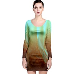 Floating Teal And Orange Peach Long Sleeve Bodycon Dress by timelessartoncanvas