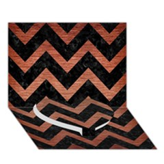 Chevron9 Black Marble & Copper Brushed Metal Heart Bottom 3d Greeting Card (7x5) by trendistuff