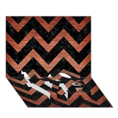 Chevron9 Black Marble & Copper Brushed Metal Love Bottom 3d Greeting Card (7x5) by trendistuff