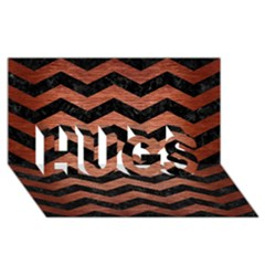 Chevron3 Black Marble & Copper Brushed Metal Hugs 3d Greeting Card (8x4)