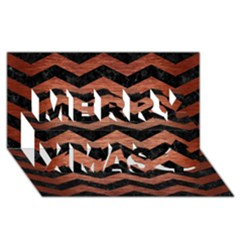 Chevron3 Black Marble & Copper Brushed Metal Merry Xmas 3d Greeting Card (8x4) by trendistuff