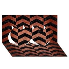 Chevron2 Black Marble & Copper Brushed Metal Twin Hearts 3d Greeting Card (8x4)