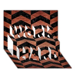 Chevron2 Black Marble & Copper Brushed Metal Work Hard 3d Greeting Card (7x5)