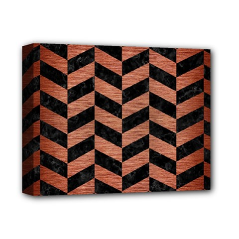 Chevron1 Black Marble & Copper Brushed Metal Deluxe Canvas 14  X 11  (stretched) by trendistuff