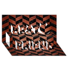 Chevron1 Black Marble & Copper Brushed Metal Best Friends 3d Greeting Card (8x4) by trendistuff