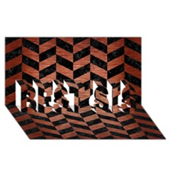 Chevron1 Black Marble & Copper Brushed Metal Best Sis 3d Greeting Card (8x4)