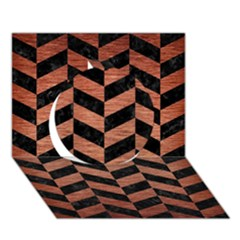 Chevron1 Black Marble & Copper Brushed Metal Circle 3d Greeting Card (7x5) by trendistuff