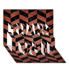 Chevron1 Black Marble & Copper Brushed Metal Thank You 3d Greeting Card (7x5) by trendistuff