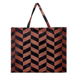 Chevron1 Black Marble & Copper Brushed Metal Zipper Large Tote Bag by trendistuff