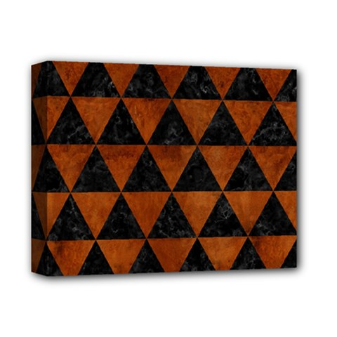 Triangle3 Black Marble & Brown Burl Wood Deluxe Canvas 14  X 11  (stretched) by trendistuff