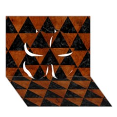Triangle3 Black Marble & Brown Burl Wood Clover 3d Greeting Card (7x5) by trendistuff