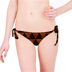 Triangle3 Black Marble & Brown Burl Wood Bikini Bottom by trendistuff
