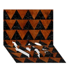 Triangle2 Black Marble & Brown Burl Wood Love Bottom 3d Greeting Card (7x5)