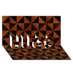 Triangle1 Black Marble & Brown Burl Wood Hugs 3d Greeting Card (8x4)