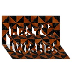 Triangle1 Black Marble & Brown Burl Wood Best Wish 3d Greeting Card (8x4)