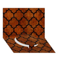 Tile1 Black Marble & Brown Burl Wood (r) Circle Bottom 3d Greeting Card (7x5)