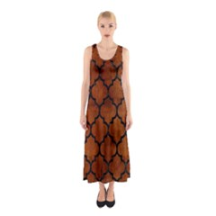 Tile1 Black Marble & Brown Burl Wood (r) Sleeveless Maxi Dress