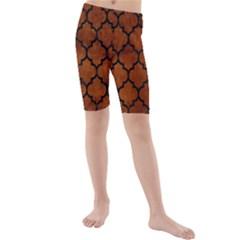 Tile1 Black Marble & Brown Burl Wood (r) Kids  Mid Length Swim Shorts by trendistuff