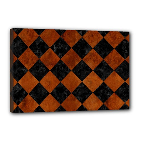 Square2 Black Marble & Brown Burl Wood Canvas 18  X 12  (stretched) by trendistuff
