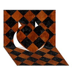 Square2 Black Marble & Brown Burl Wood Heart 3d Greeting Card (7x5) by trendistuff