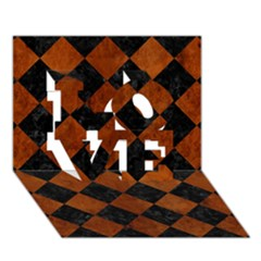 Square2 Black Marble & Brown Burl Wood Love 3d Greeting Card (7x5) by trendistuff