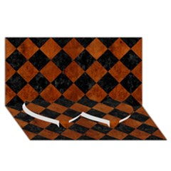 Square2 Black Marble & Brown Burl Wood Twin Heart Bottom 3d Greeting Card (8x4)