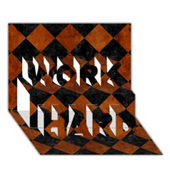 Square2 Black Marble & Brown Burl Wood Work Hard 3d Greeting Card (7x5)