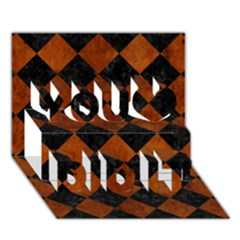 Square2 Black Marble & Brown Burl Wood You Did It 3d Greeting Card (7x5) by trendistuff