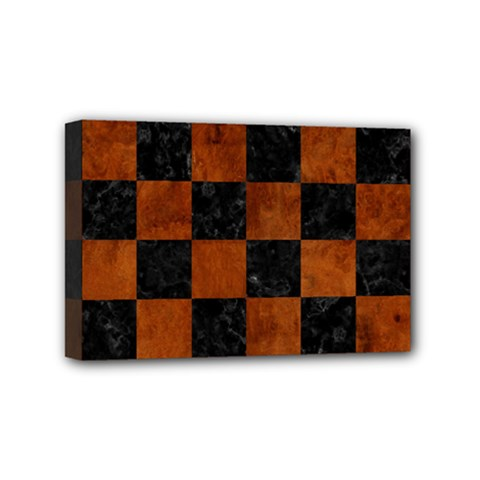 Square1 Black Marble & Brown Burl Wood Mini Canvas 6  X 4  (stretched) by trendistuff