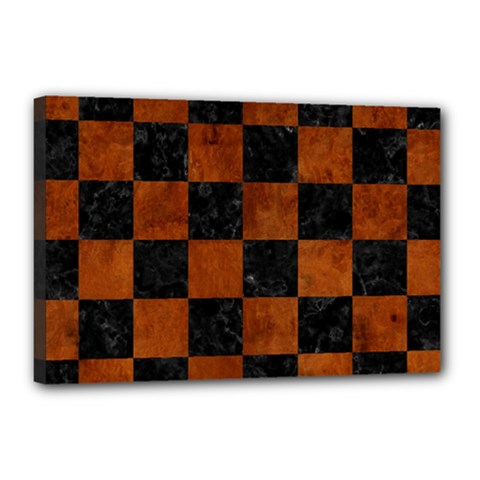 Square1 Black Marble & Brown Burl Wood Canvas 18  X 12  (stretched) by trendistuff