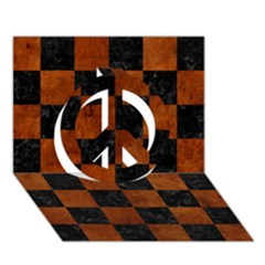 Square1 Black Marble & Brown Burl Wood Peace Sign 3d Greeting Card (7x5)