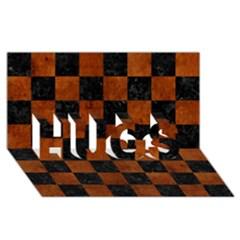Square1 Black Marble & Brown Burl Wood Hugs 3d Greeting Card (8x4) by trendistuff
