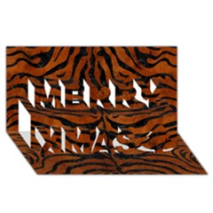 Skin2 Black Marble & Brown Burl Wood (r) Merry Xmas 3d Greeting Card (8x4) by trendistuff