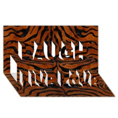 Skin2 Black Marble & Brown Burl Wood (r) Laugh Live Love 3d Greeting Card (8x4)