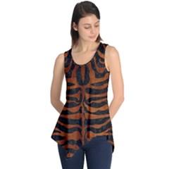 Skin2 Black Marble & Brown Burl Wood Sleeveless Tunic