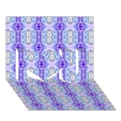 Light Blue Purple White Girly Pattern I Love You 3d Greeting Card (7x5)  by Costasonlineshop