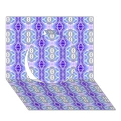 Light Blue Purple White Girly Pattern Circle 3d Greeting Card (7x5)  by Costasonlineshop