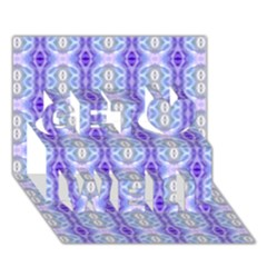 Light Blue Purple White Girly Pattern Get Well 3D Greeting Card (7x5)  by Costasonlineshop