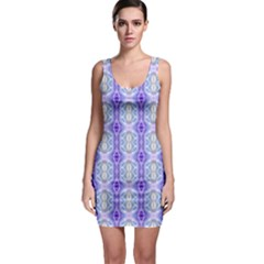 Light Blue Purple White Girly Pattern Sleeveless Bodycon Dress