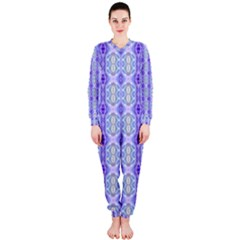 Light Blue Purple White Girly Pattern Onepiece Jumpsuit (ladies)  by Costasonlineshop