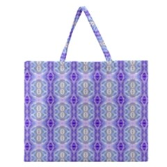 Light Blue Purple White Girly Pattern Zipper Large Tote Bag