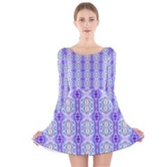 Light Blue Purple White Girly Pattern Long Sleeve Velvet Skater Dress by Costasonlineshop