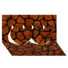 Skin1 Black Marble & Brown Burl Wood Twin Hearts 3d Greeting Card (8x4) by trendistuff