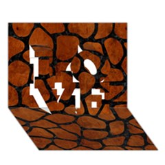 Skin1 Black Marble & Brown Burl Wood Love 3d Greeting Card (7x5) by trendistuff
