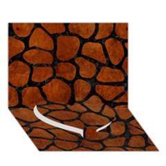 Skin1 Black Marble & Brown Burl Wood Heart Bottom 3d Greeting Card (7x5) by trendistuff