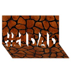 Skin1 Black Marble & Brown Burl Wood #1 Dad 3d Greeting Card (8x4)