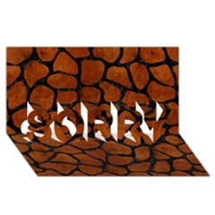 Skin1 Black Marble & Brown Burl Wood Sorry 3d Greeting Card (8x4)
