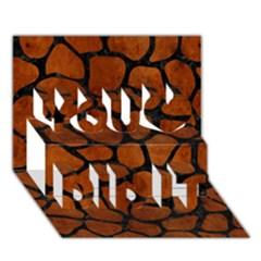 Skin1 Black Marble & Brown Burl Wood You Did It 3d Greeting Card (7x5)