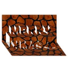 Skin1 Black Marble & Brown Burl Wood Merry Xmas 3d Greeting Card (8x4) by trendistuff
