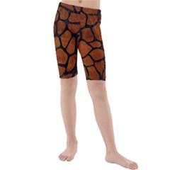 SKN1 BK MARBLE BURL Kid s Mid Length Swim Shorts by trendistuff